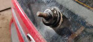 Torkarmotor med bortplockad torkararm